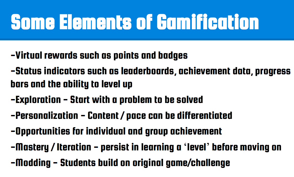 checklist for elements of gamification