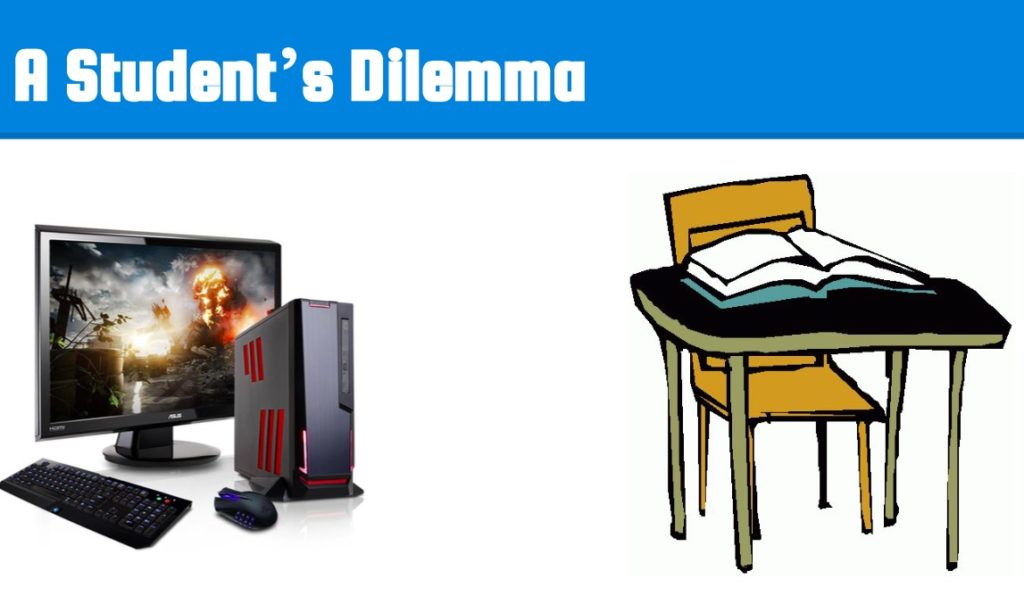 "graphic that reads: ""a student's dilemma"""
