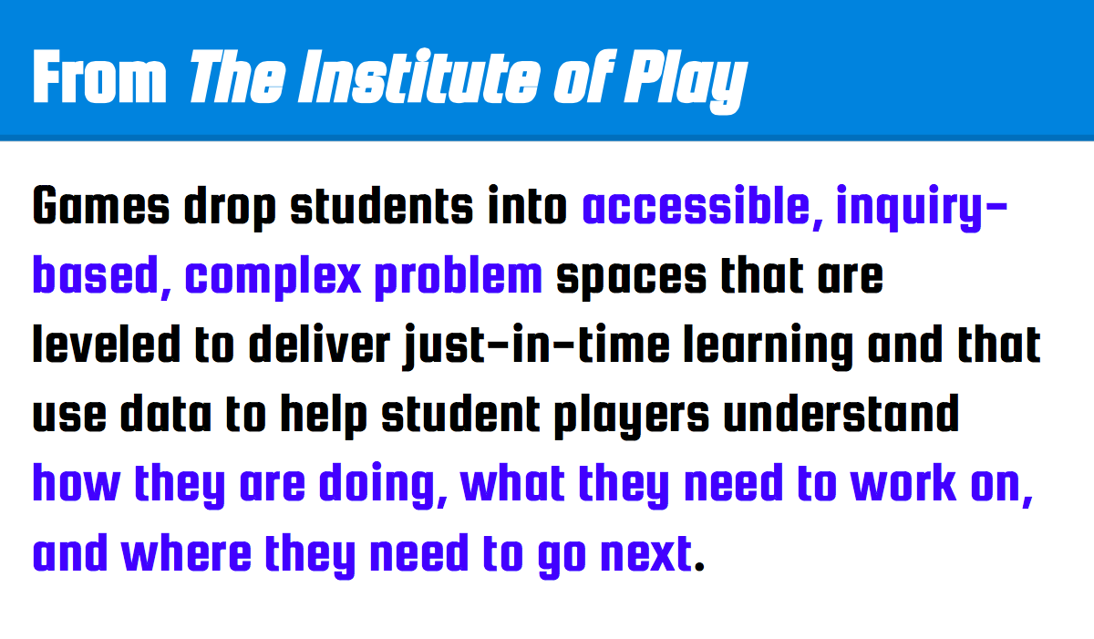 Institute of Play's notes on students and gaming