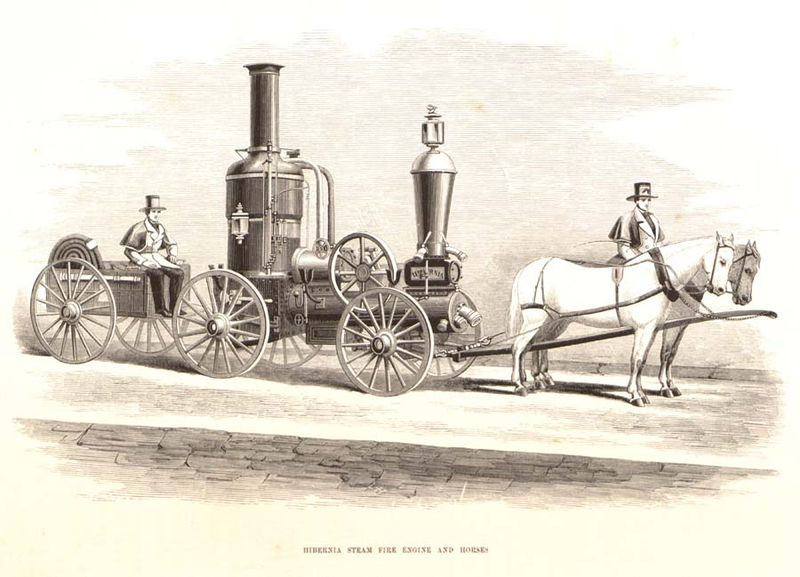 illustration of a horse pulling an engine