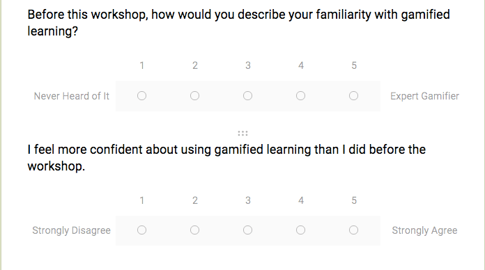 poll asking: before this workshop, how would you describe your familiarity with gamified learning?