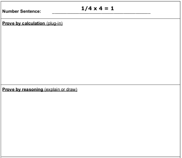 Number Sentence Equation Proof Organizer