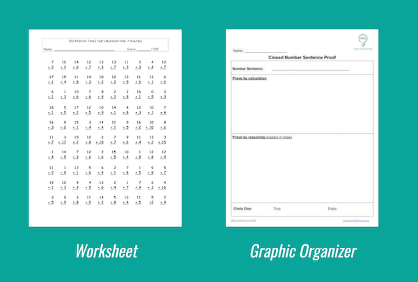 A comparison shows a worksheet page filled with math questions, compared to a graphic organizer with a few questions and plenty of space for students to show their thinking