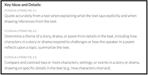 Common Core Grade 5 Literacy Standards for Literature - Key Ideas and Details