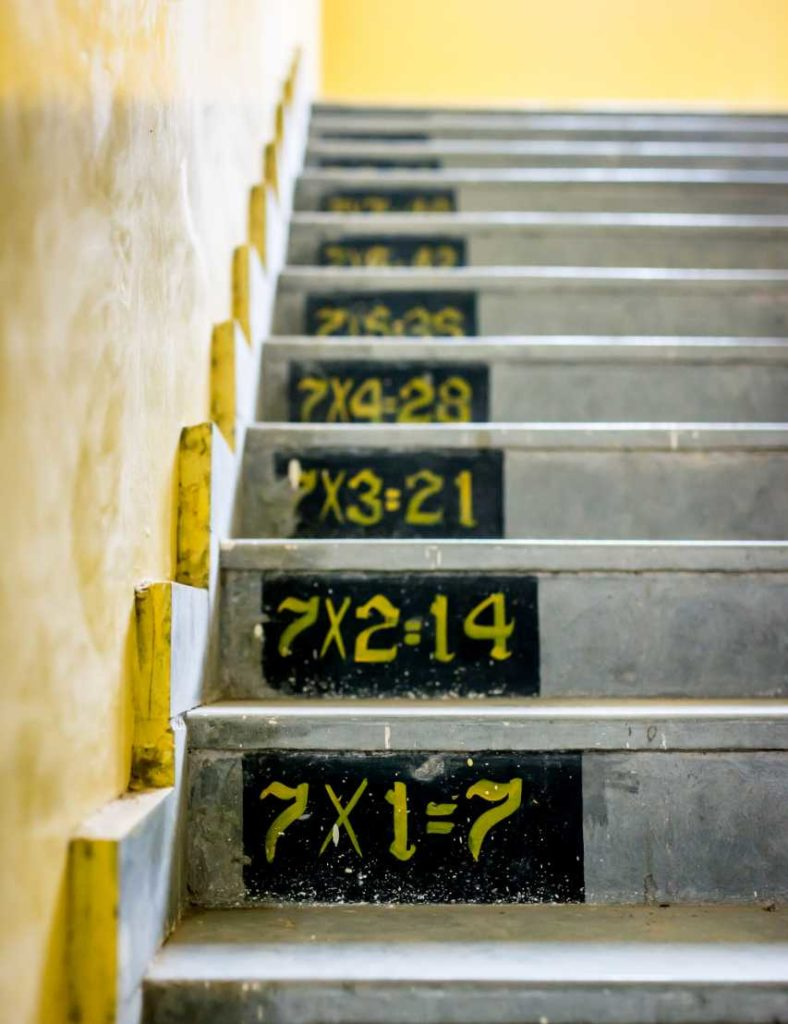 Stairs with the multiplication facts for the number 7