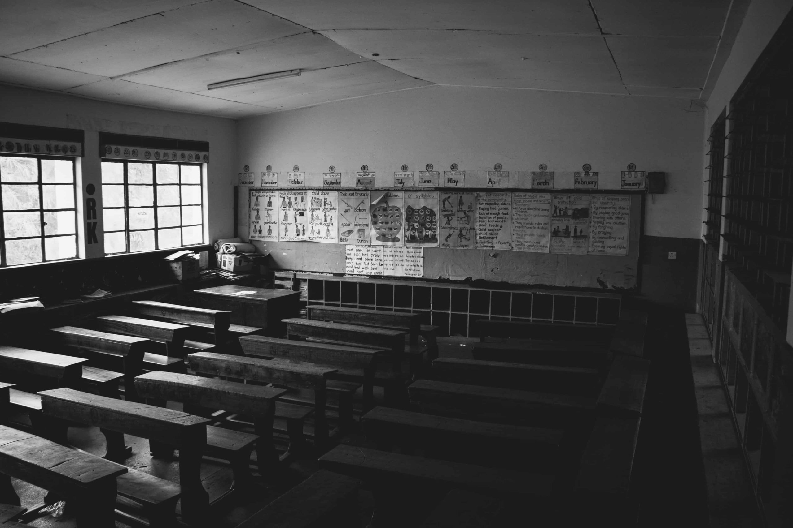 A dark and empty classroom from when schools close