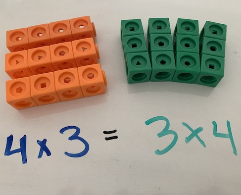 Example from teaching with manipulatives and visual models workshop for elementary school math teachers, using unifix cubes to demonstrate commutative property of multiplication