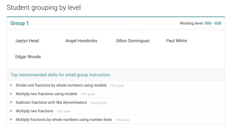 IXL adaptive learning - data-driven student grouping suggestions