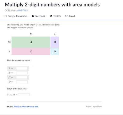 khan academy area model problem set