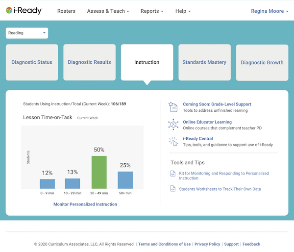 iReady adaptive learning dashboard