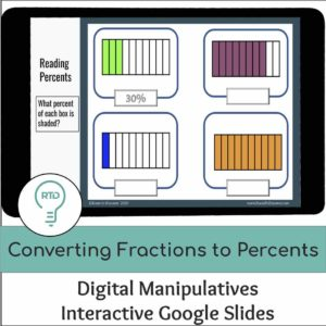 Converting Fractions to Percents Activities with Digital Manipulatives