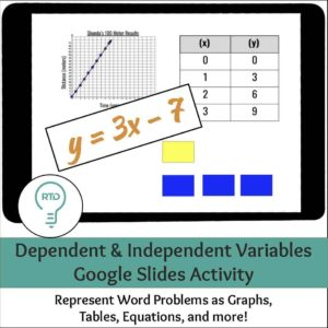 Dependent and Independent Variables Google Slides Activity