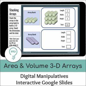 Area and Volume Activities | Digital 3D Arrays Visual Models