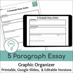 5 Paragraph Essay Writing Graphic Organizer | Print and Digital Options