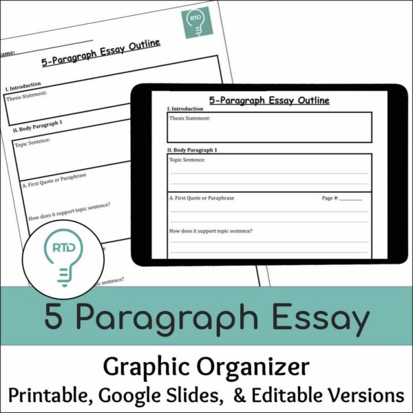 5 Paragraph Essay Writing Graphic Organizer   Print and Digital Options