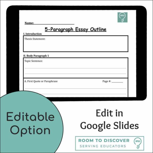 5 Paragraph Essay Writing Graphic Organizer   Print and Digital Options-3
