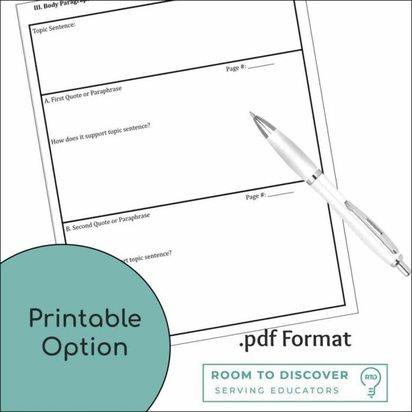 5 Paragraph Essay Writing Graphic Organizer   Print and Digital Options-2