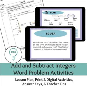 Adding and Subtracting Integers Activities | Digital Word Problems