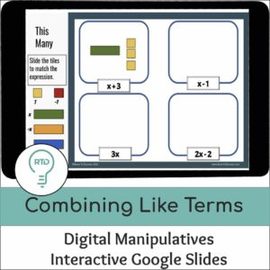 Combining Like Terms with Algebra Tiles | Interactive Digital Visual Models