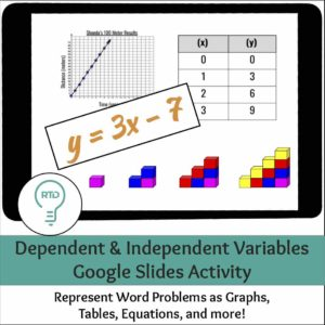 Dependent and Independent Variables Word Problem Activities | Digital and Print Options