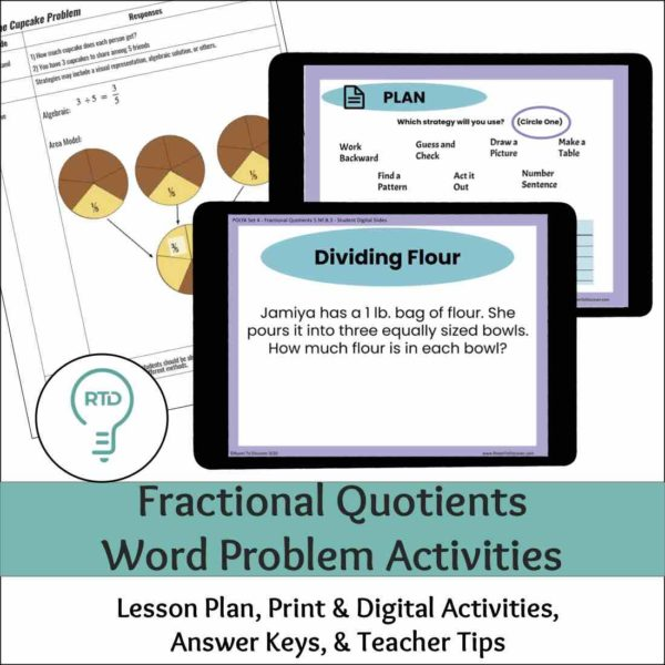 Fractions as Division Word Problems - Complete Digital and Print Lesson
