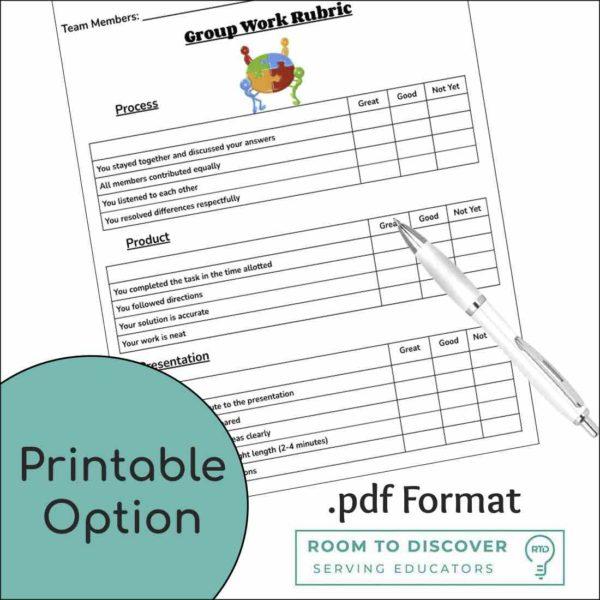 Group Work Rubric | Print and Digital Option-3