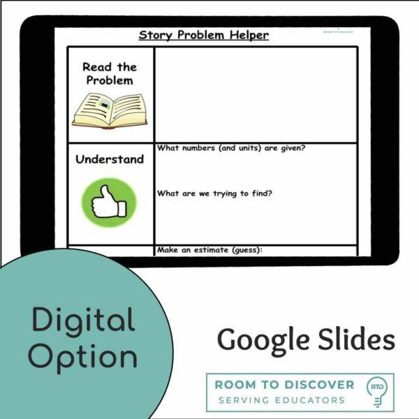 Math Word Problem Graphic Organizer | Digital and Print-3