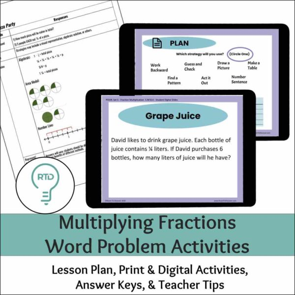 Multiplying Fractions Word Problem Activities  - Complete Digital and Print Lesson