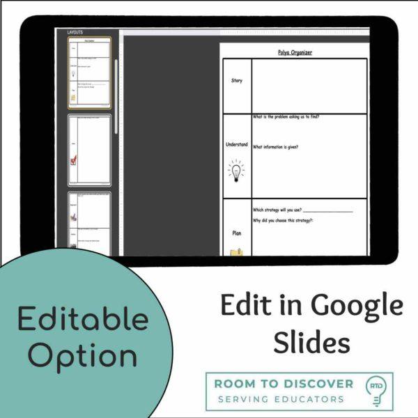 Word Problem Solving Activity | Polya 4 Step Graphic Organizer (Print and Digital)-4