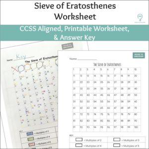 Sieve of Eratosthenes Worksheet (Worksheet ONLY)