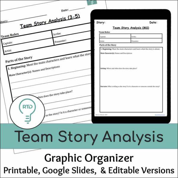 Team Story Analysis Graphic Organizers- Group Reading Analysis Activity
