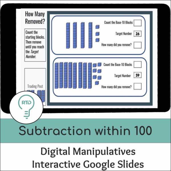 Subtraction within 100 using Base-10 Blocks Activities | Digital Visual Models