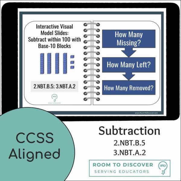 Subtraction within 100 using Base-10 Blocks Activities | Digital Visual Models-4