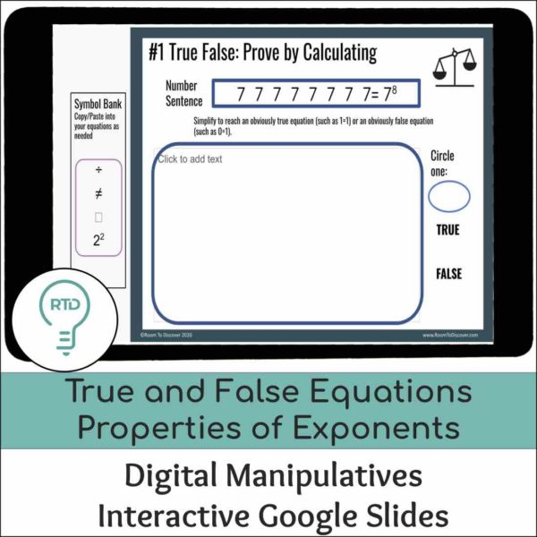 True False Properties of Exponents