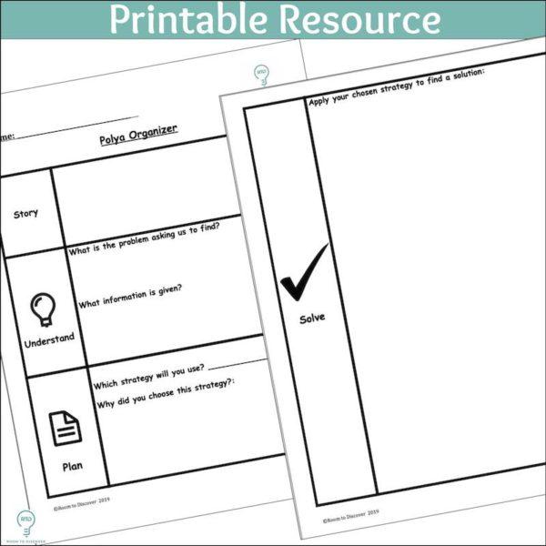 Word Problem Solving Activity | Polya 4 Step Graphic Organizer (Print and Digital)-3