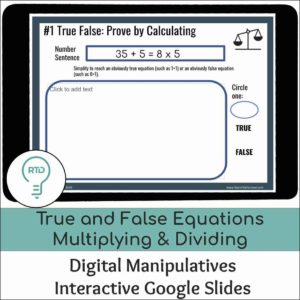 True False Equations Multiplying and Dividing Whole Numbers